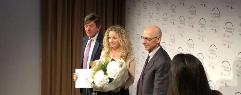 Gloria Ravegnini alla cerimonia di premiazione