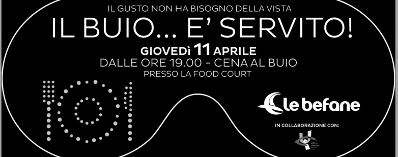 Cena al buio, giovedì 11 aprile 2019 a Le Befane di Rimini
